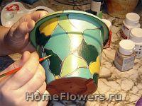 Мозаика, витраж, цветочный горшок